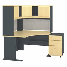 Series A Corner Desk with Hutch and 3-Drawer Mobile Pedestal