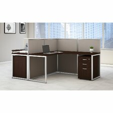 Easy Office L-Shape Desk Open Office with File Pedestals