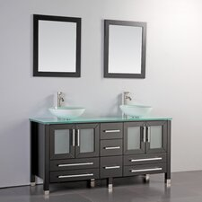 "Cuba 61"" Double Bathroom Vanity Set with Mirrors"