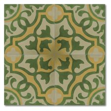 "Baha 8"" x 8"" Marble Hand-Painted Tile in Multi-Color"