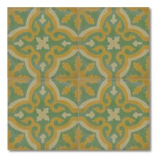 """Argana 8"""" x 8"""" Marble Hand-Painted Tile in Multi-Color"""