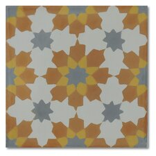 "Casablanca 8"" x 8"" Marble Hand-Painted Tile in Multi-Color"