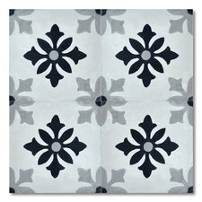 """Azrou 8"""" x 8"""" Marble Hand-Painted Tile in Black and Gray"""