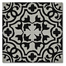 """Baha 8"""" x 8"""" Marble Hand-Painted Tile in Black and Gray"""