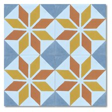 "Assila 8"" x 8"" Marble Hand-Painted MatteTile in Multi-Color"