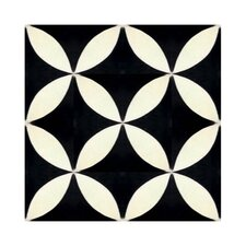 """Bellota 8"""" x 8"""" Hand-Painted Tile in Black and White"""