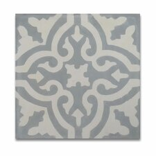 """Argana 8"""" x 8"""" Hand-Painted Tile in Gray and White"""