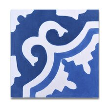 """Tangier 8"""" x 8"""" Hand-Painted Tile in Blue and White"""