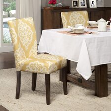Yellow & Cream Damask Parsons Chair (Set of 2)