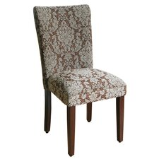 Elegant Uhpolstered Damask Parsons Chair (Set of 2)