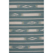 Traditions Made Modern Wool Flat Weave Blue/Ivory Area Rug