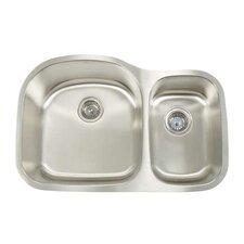 """Manhattan 31.125"""" x 20.5"""" Double Bowl Undermount Kitchen Sink"""
