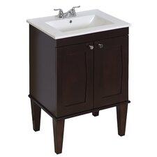 """24"""" Single Transitional Birchwood-Veneer Bathroom Vanity Set"""