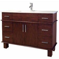 """48"""" Single Transitional Birchwood-Veneer Bathroom Vanity Set"""