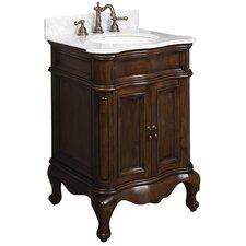 "25"" Single Traditional Birchwood-Veneer Bathroom Vanity Set"