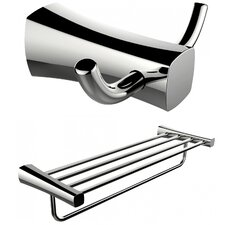 Wall Mounted Double Robe Hook and Multi Rod Towel Rack