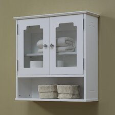 Natural Beauty 1 Storage Area and 2 Glass Doors with Adjustable Shelf Wall Cabinet