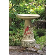 Burley Clay Summer Cardinal Bird Bath
