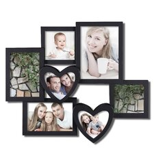7 Opening Plastic Heart Shaped Photo Collage Wall Hanging Picture Frame