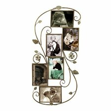 6 Opening Decorative Bronze-Color Iron Photo Collage Wall Hanging Picture Frame