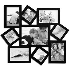 9 Opening Wood Photo Collage Wall Hanging Picture Frame