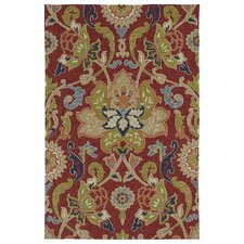 Home and Porch Red Floral and Plants Indoor/Outdoor Area Rug