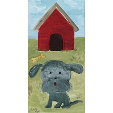 Dog with Red Doghouse by Judith Raye Original Painting Print