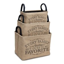 """Every Family is Beautiful"" 3 Piece Burlap Storage Bin Set"
