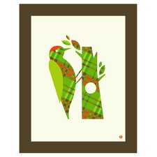 Limited Edition 'Pattern Series: Plaid Woodpecker' by Shay Ometz and Jeff Barfoo Graphic Art
