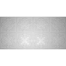 "Glue-Up Fleur De Lis Pattern 12"" x 12"" Tin Ceiling Tile in White"
