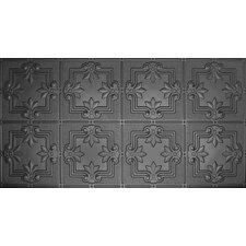"""Glue-Up Fleur De Lis Pattern 12"""" x 12"""" Tin Ceiling Tile in Black"""