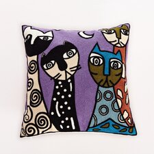Embroidered Night Cats Cotton Throw Pillow