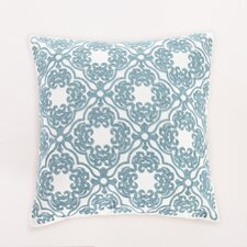 Embroidered Lattice Cotton Throw Pillow