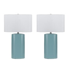 "Minorca 3 Way 27"" H Table Lamp with Drum Shade (Set of 2)"
