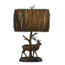 """Rustic 28"""" H Table Lamp with Drum Shade"""