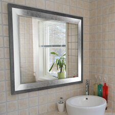 Concrete with Silver Leaf Beveled Wall Mirror