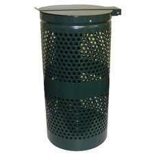 15-Gal Aluminum Trash Receptacle with Stainless Steel Lid and Liner Trash Bags