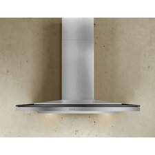"""Arc Layers 35.38"""" Wall Mount Range Hood in Black Glass with Stainless Steel"""