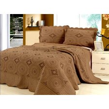 Embroidery Microfiber 3 Piece Quilt Set