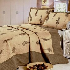 Leaf Embroidery Microfiber 3 Piece Quilt Set