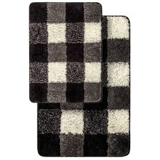 2 Piece Ultra Soft and Super Absorbent Microfiber Checkered Bath Mat Set