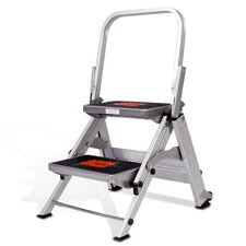 2-Step Aluminum Safety Step Stool with 300 lb. Load Capacity