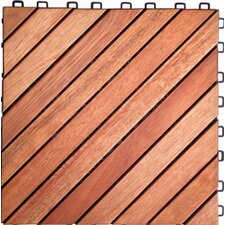 "Acacia Hardwood 11.22"" x 11.22"" Interlocking Deck Tile"