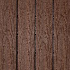 "Naturale Composite 12"" x 12"" Interlocking Deck Tiles in California Redwood (Set of 10)"