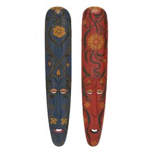 2 Piece Wooden Handmade Masks Wall Decor
