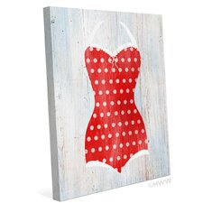Vintage Red Polka Dot Bathing Suit Illustration Graphic Art on Wrapped Canvas
