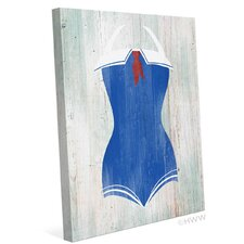 Vintage Sailor Bathing Suit Illustration Graphic Art on Wrapped Canvas
