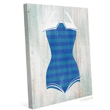 Vintage Blue Stripes Bathing Suit Illustration Graphic art on Wrapped Canvas