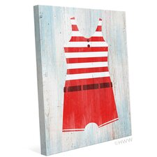 Vintage Red Striped Beach Outfit Illustration Graphic Art on Wrapped Canvas
