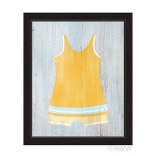 Vintage Yellow Beach Outfit Illustration Framed Painting Print on Canvas